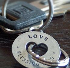 vdday blessing ring love keychain